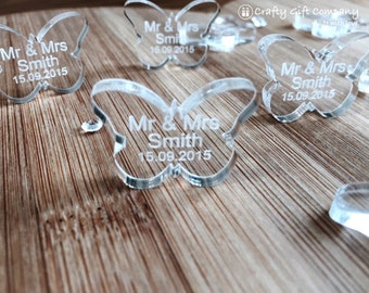 Butterfly Wedding Favours Table Decorations butterflies Personalised Mr & Mrs name Laser cut