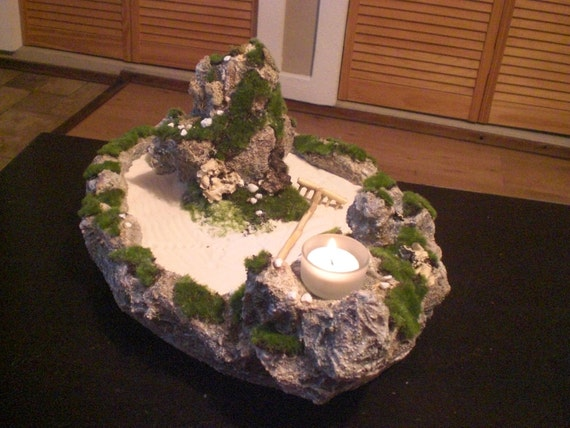 mini zen garden large by rocksart on etsy. Black Bedroom Furniture Sets. Home Design Ideas