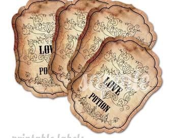 Love Potion - 9 Printable labels per A3 sheet - downloadable