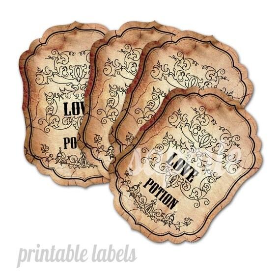 Love Potion Drink Labels: Love Potion 9 Printable Labels Per A3 Sheet Downloadable