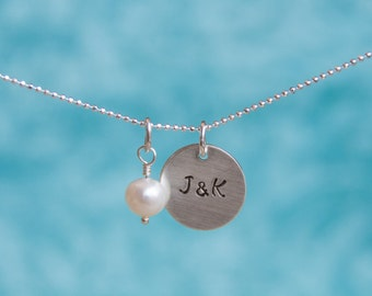 Custom Hand-Stamped Sterling Silver Couples Necklace