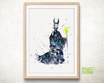 Maleficent Sleeping Beauty- Watercolor, Art Print, Home Wall decor, Watercolor Print, Disney Maleficent Poster