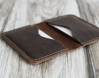 Leather business card holder etsy personalized leather business card holder 110 distressed leather mens wallet card wallet reheart Choice Image