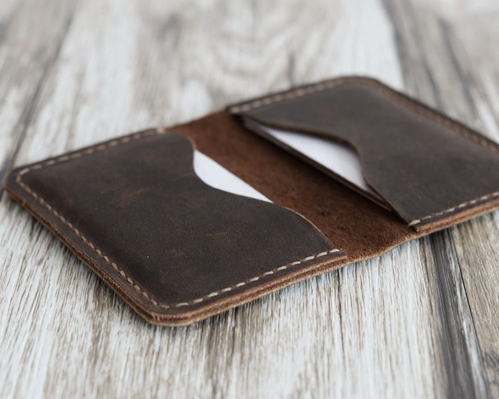 Personalized leather business card holder 110 distressed for Leather business card holder monogram