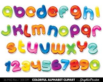 Colourful Alphabet clipart color alphabet Digital alphabet letters clipart Digital letters Clip art alphabet Clip art Party letters
