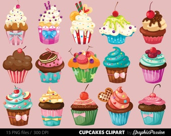 Cupcakes clipart  digital cupcake clip art cupcake digital illustration cupcake Vector birthday cakes bakery sweets frosting chocolate