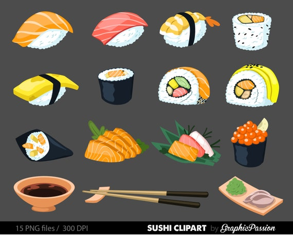 ... Clip Art Instant Download Sushi Clipart Japanese Clipart Food Clipart: https://www.etsy.com/listing/227797510/sushi-digital-art-set...