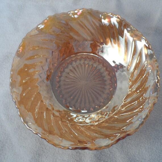 Bowl-Gold Glass Bowl- Mrigold Ruffled Indiana Glass Bowl