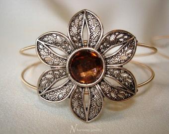 Guitar String Bangle Bracelet With Crystal Filagree Flower Slider, Guitar String Jewelry, Topaz Rhinestone Bracelet, Silver Flower Bracelet
