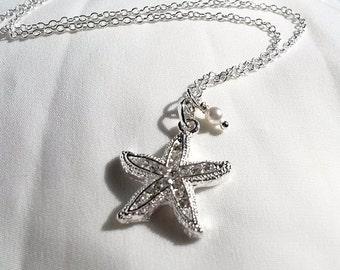 Silver Crystal Starfish Necklace - Starfish Pearl Necklace - Surf Necklace - Bridal Necklace - Beach Wedding Jewellery -