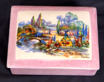 Lancasters Ceramic Box & Lid- OLD WORLD GARDEN from England