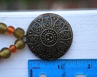 Bohemian Autumn Beaded Natural Brass Medallion Necklace Handmade Steampunk
