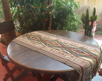 Handwoven Organic Alpaca Table Runner Incan/Peruvian/Andean 39cm by 105cm Featuring the Eye of Pachamama