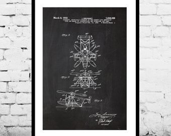 Heli Poster, Helicopter Patent, Helicopter Print, Helicopter Art, Helicopter Decor, Helicopter Blueprint, Helicopter Wall Art, Helicopter