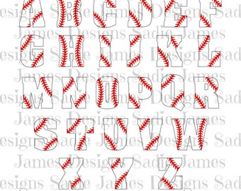 Baseball Laces Alphabet SVG and Silhouette Studio cutting file, Instant Download