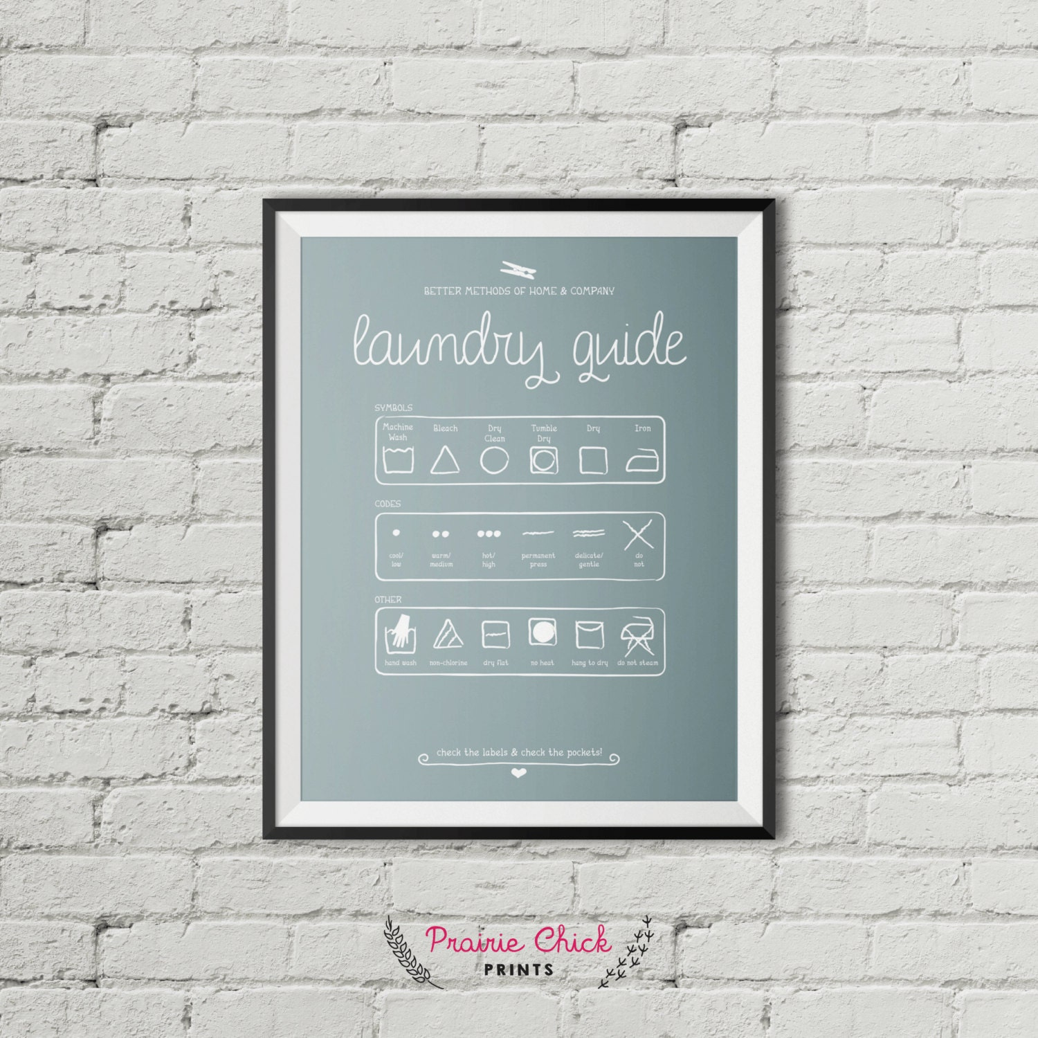 Laundry Guide Poster Package Laundry Room By