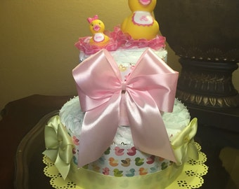 Two tier diaper cake -yellow and pink diaper cake-baby girl diaper cake