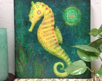 """Seahorse Wall Decor--Wood Mounted Archival Print of Original Mixed Media Art with Hand-Painted Details and Finish--""""Seahorse"""""""