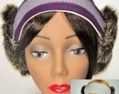Bandies. Faux Fur Ear Warmers, Reversible.  Purple Striped band with Grey Fur.