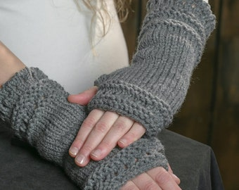 Fingerless gloves knitted arm warmers for woman trendy long mittens