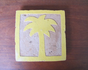 VINTAGE MOROCCAN TILE with Hand-Carved Palm Tree