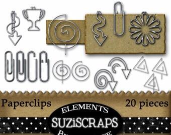 Digital Scrapbooking Paperclips, Metal Fasteners, Digital Elements, Digital Files, Instant Download