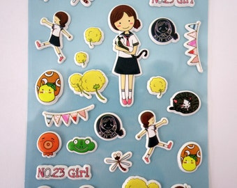 Super cute Japanese schoolgirl and cat puffy 3D stickers