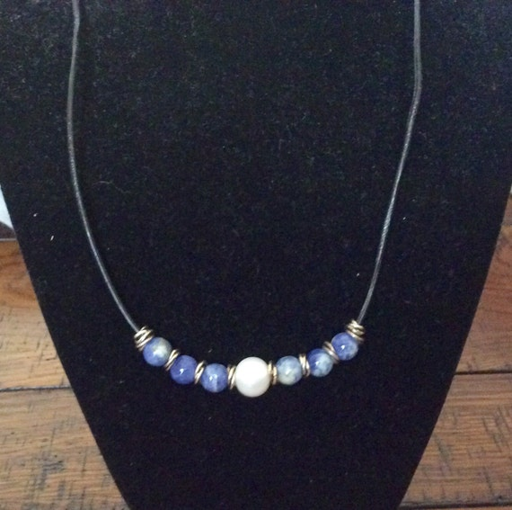 Leather, Sterling Silver, Sodalite, Fresh Water Pearl Necklace