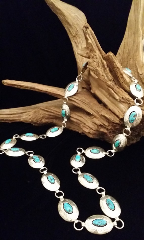 "AMAZING!  Vintage Native American Hallmarked ""J"" Sterling Silver and Turquoise Concho Belt"