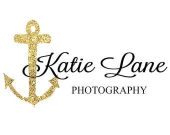 Elegant Anchor Logo - Nautical Glitter Logo - Photography Logo - Branding Logo - Pre-Made Logo