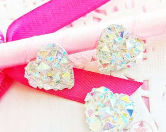 14mm Heart Crystal AB Glittery Acrylic Special Effect Rhinestones ~ Q1-15