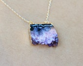 Stalactites Necklace, Amethyst Slice Necklace, Purple Geode Necklace, Natural Stone,  Bohemian Jewelry