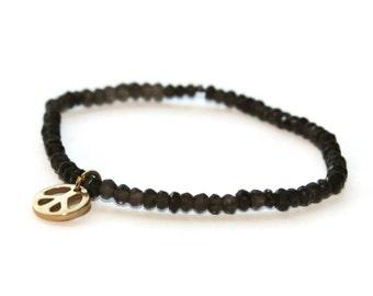 Smoky quartz beaded bracelet, Peace Sign Charm Bracelet, Simple Bracelet