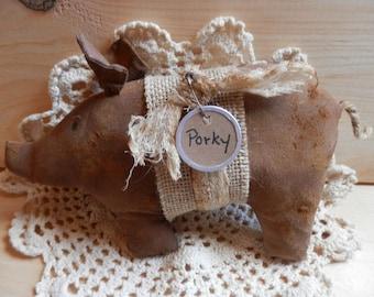 Primitive Pig shelf sitter ornie country charm decor bowl filler handmade