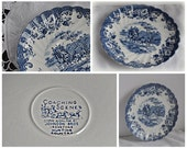 Vintage Johnson Bros Coaching Scenes Saucer Blue and White Ironstone Made in England