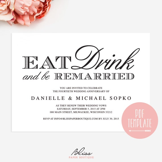 Items similar to Vow Renewal Invitation Eat Drink and be – Renewal of Vows Invitation Cards