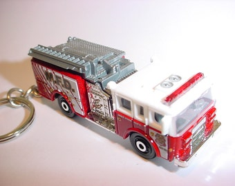 3D Pierce Dash fire engine custom keychain by Brian Thornton keyring key chain finished in red/white color truck trim rescue 911