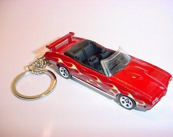 3D 1970 Pontiac GTO custom keychain by Brian Thornton keyring key chain finished in red color trim diecast metal body