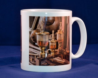 Ceramic mug with vintage machinery design