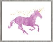Pink Unicorn Art, Pink Yellow Nursery, Glitter Unicorn Print, Unicorn Nursery, Unicorn Wall Decor, Unicorn Wall Art, INSTANT DOWNLOAD