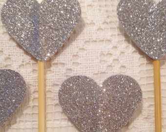 Set of 10 Silver Glitter Heart Cupcake Toppers - Wedding, Birthday, Baby Shower, Event.