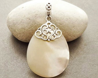 MOP Silver Pendant - Sterling Silver - Filigree Pendant - Teardrop - Mother of Pearl - shabby chic pendant - Boho Pendant - Vintage Pendant