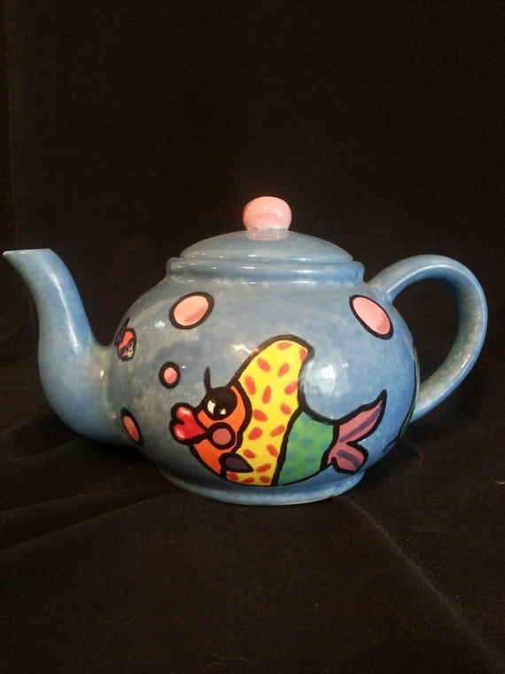 Unique Tropical Fish Ceramic Teapot by ChristmasShanty on Etsy
