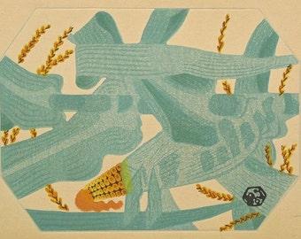 "Ukiyoe, Original Sōsaku-hanga, Woodblock print, antique, Tobei Kameii, ""Indian corn"""