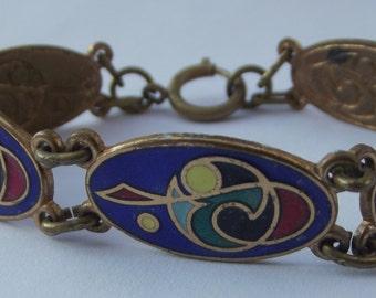 Multi-Colour Enamel Linked Panel Bracelet