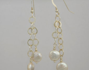 Dangling Coin Pearl Earrings