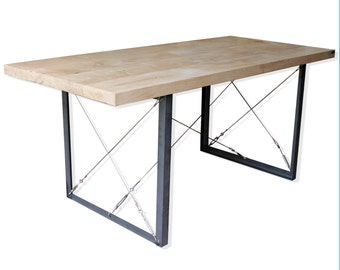 KONK! INDUSTRIAL Oak/Steel Dining Table, Kitchen Table, Conference Table, Minimal, Contemporary