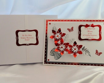 Large Handmade Boxed Personalised 40th Ruby Wedding Anniversary Card for Wife/Husband/Friends etc