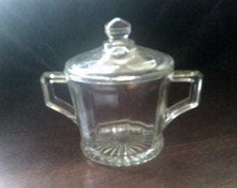 Sugar Pot / Jam Pot Crown Glass Australia