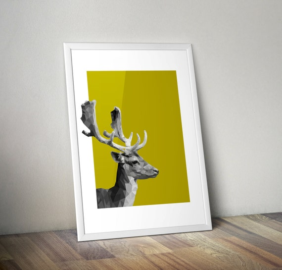 OH DEER Geometric poster Decoration Minimal print Low poly